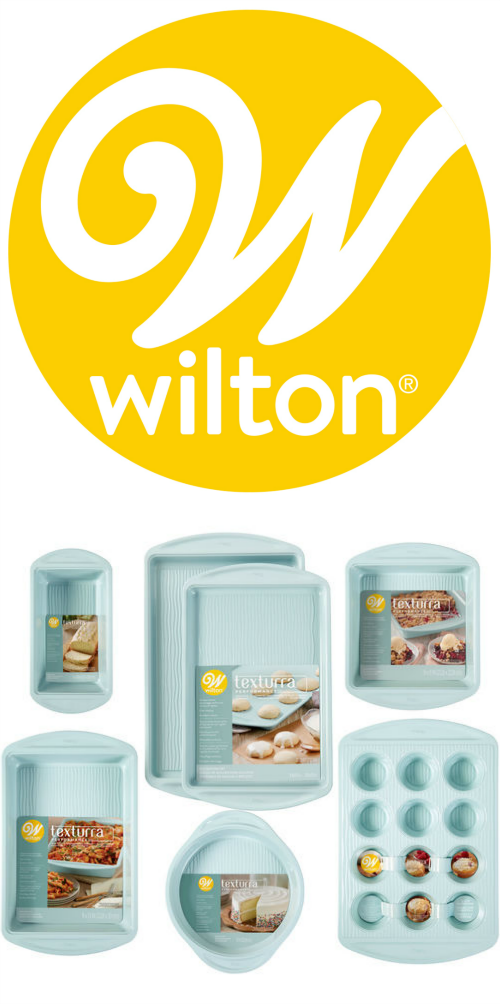 Wilton logo with stock photo of Texturra 7-Piece Bakeware Set.