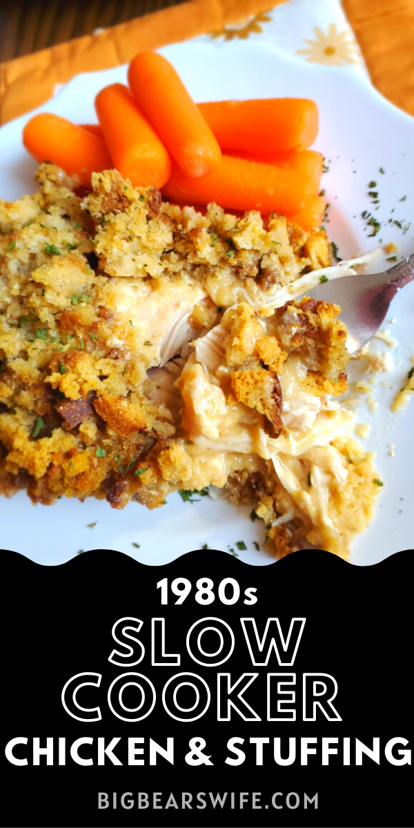 This Slow Cooker Chicken and Stuffing recipe reminds me of a meal that my mom would have made when I was growing up! Toss a few easy ingredients into the slow cooker and dinner will be ready without much work at all! This 1980s Slow Cooker Chicken and Stuffing only takes about 5 minutes to toss together!