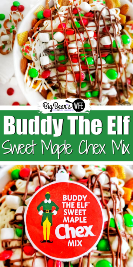 """Buddy The Elf™ Sweet Maple Chex™ Mix - A Chex mix version of Buddy the Elf's Breakfast Spaghetti! Maple-sweetened Chex, Cinnamon Chex, mini cookies and pretzels get topped with white chocolate """"spaghetti, M&Ms and mini marshmallows. Don't forget the melted chocolate for the """"Chocolate Syrup"""" drizzle!"""