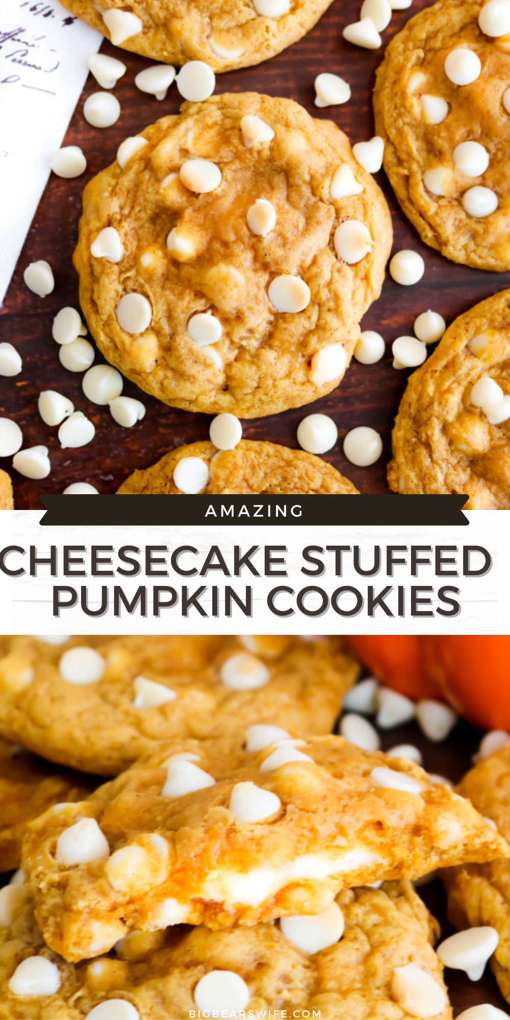These Cheesecake Stuffed Pumpkin Cookies are soft and chewy with a cheesecake stuffed center. Plus they're made with pumpkin, pumpkin spice and white chocolate chips which makes them the perfect fall cookie! via @bigbearswife