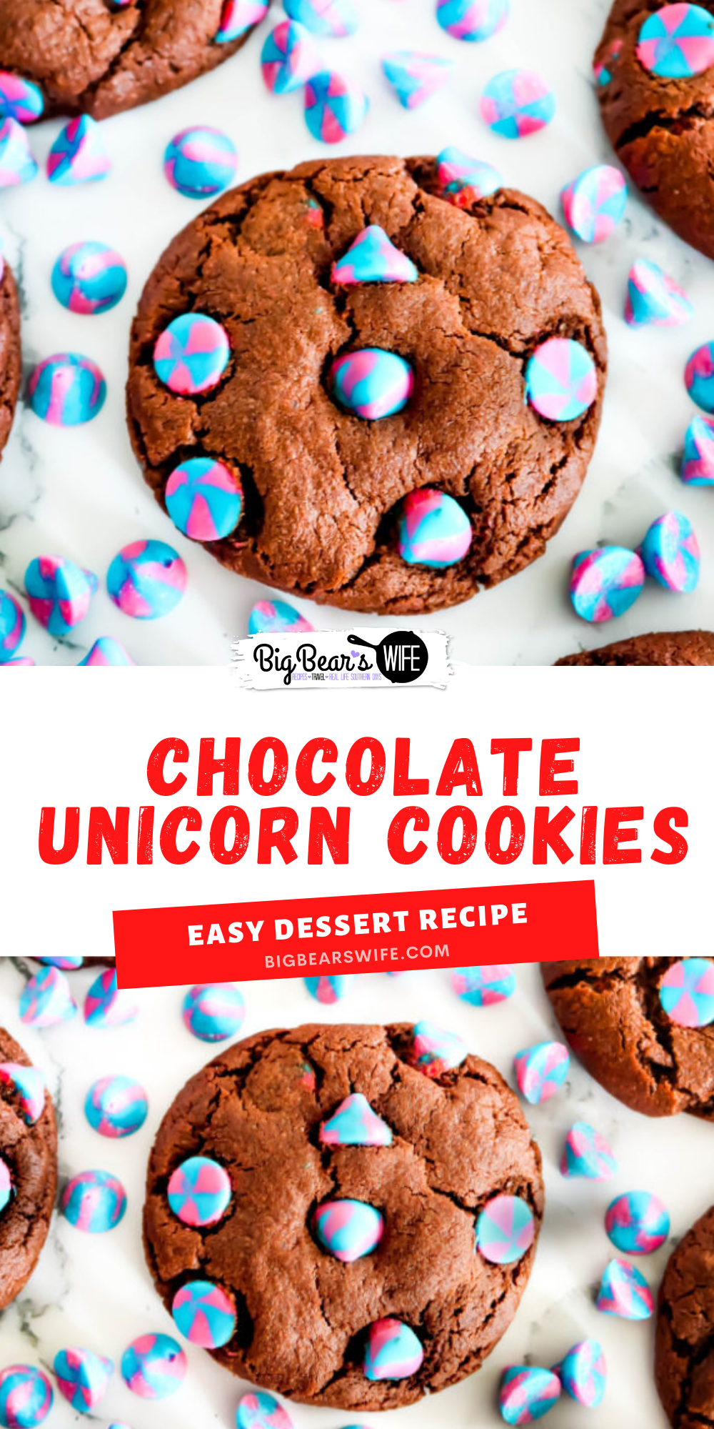 If you have someone in your life that loves Unicorns you need to bake them up a batch of these Chocolate Unicorn Cookies! They're delicious and packed with the prettiest Unicorn Pink & Blue swirled vanilla chips!
