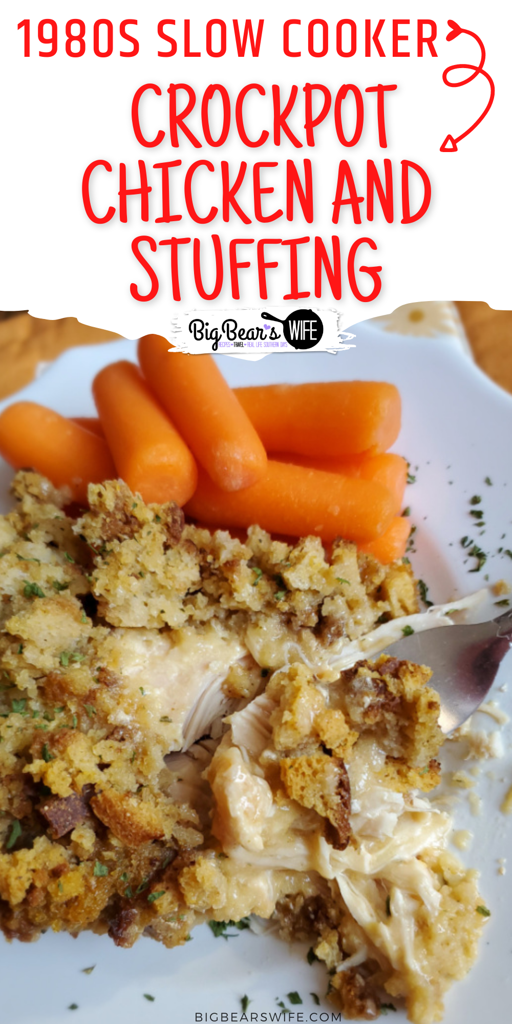 This Slow Cooker Crockpot Chicken and Stuffing recipe reminds me of a meal that my mom would have made when I was growing up! Toss a few easy ingredients into the slow cooker and dinner will be ready without much work at all! This 1980s Slow Cooker Chicken and Stuffing only takes about 5 minutes to toss together! 