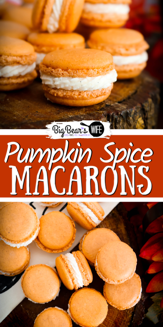 Pumpkin Spice Macarons - Ready for a homemade macaron that is perfect for Fall and Thanksgiving? These Pumpkin Spice Macarons have pumpkin spice in the cookie shell and are filled with a vanilla bean filling.