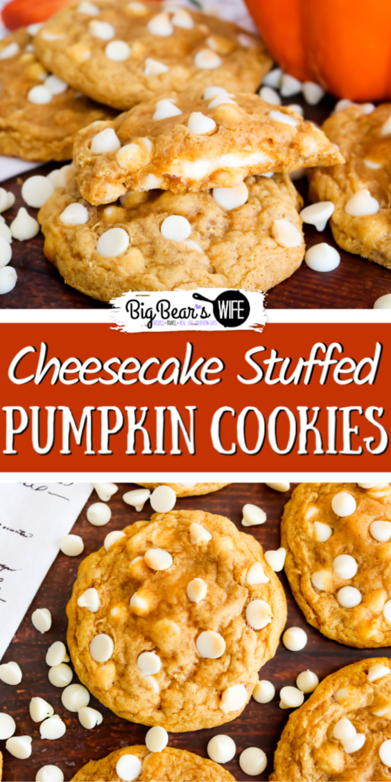 Cheesecake Stuffed Pumpkin Cookies - These Cheesecake Stuffed Pumpkin Cookies are soft and chewy with a cheesecake stuffed center. Plus they're made with pumpkin, pumpkin spice and white chocolate chips which makes them the perfect fall cookie!