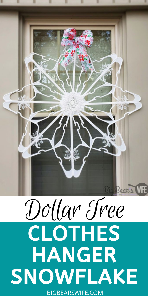 These Giant Snowflakes are so easy to make and they're made using items from Dollar Tree! In this post I'll show you How to make a Dollar Tree Plastic Clothes Hanger Snowflake for $5! via @bigbearswife