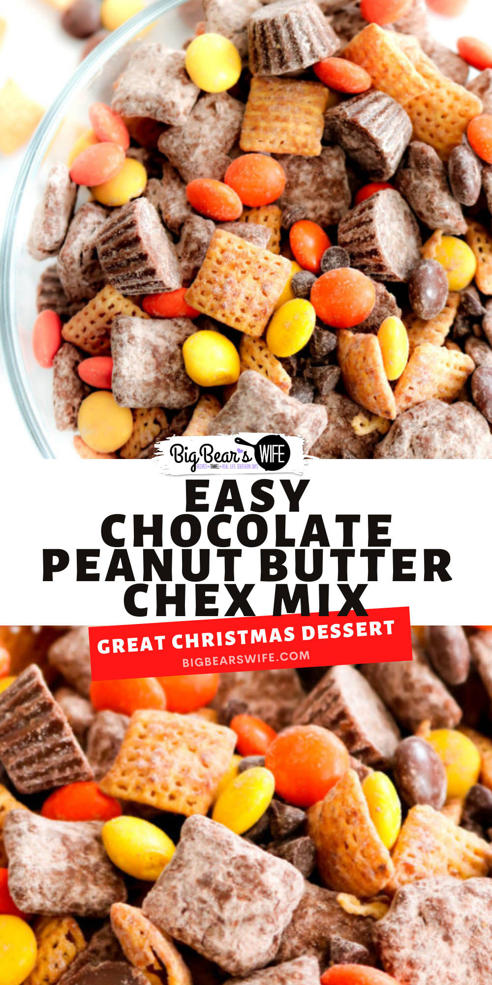 This Chocolate Peanut Butter Chex Mix is what dreams are made of! It's packed with tons of chocolate and peanut butter including peanut butter cereal, mini peanut butter cups and Reese's pieces! via @bigbearswife