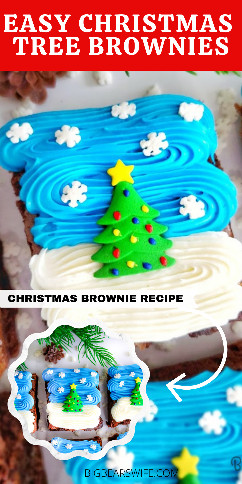 These Easy Christmas Tree Brownies are super festive and simple to make! Use your favorite brownie recipe, my recipe, a boxed mix or brownies from the bakery to create these Christmas treats!