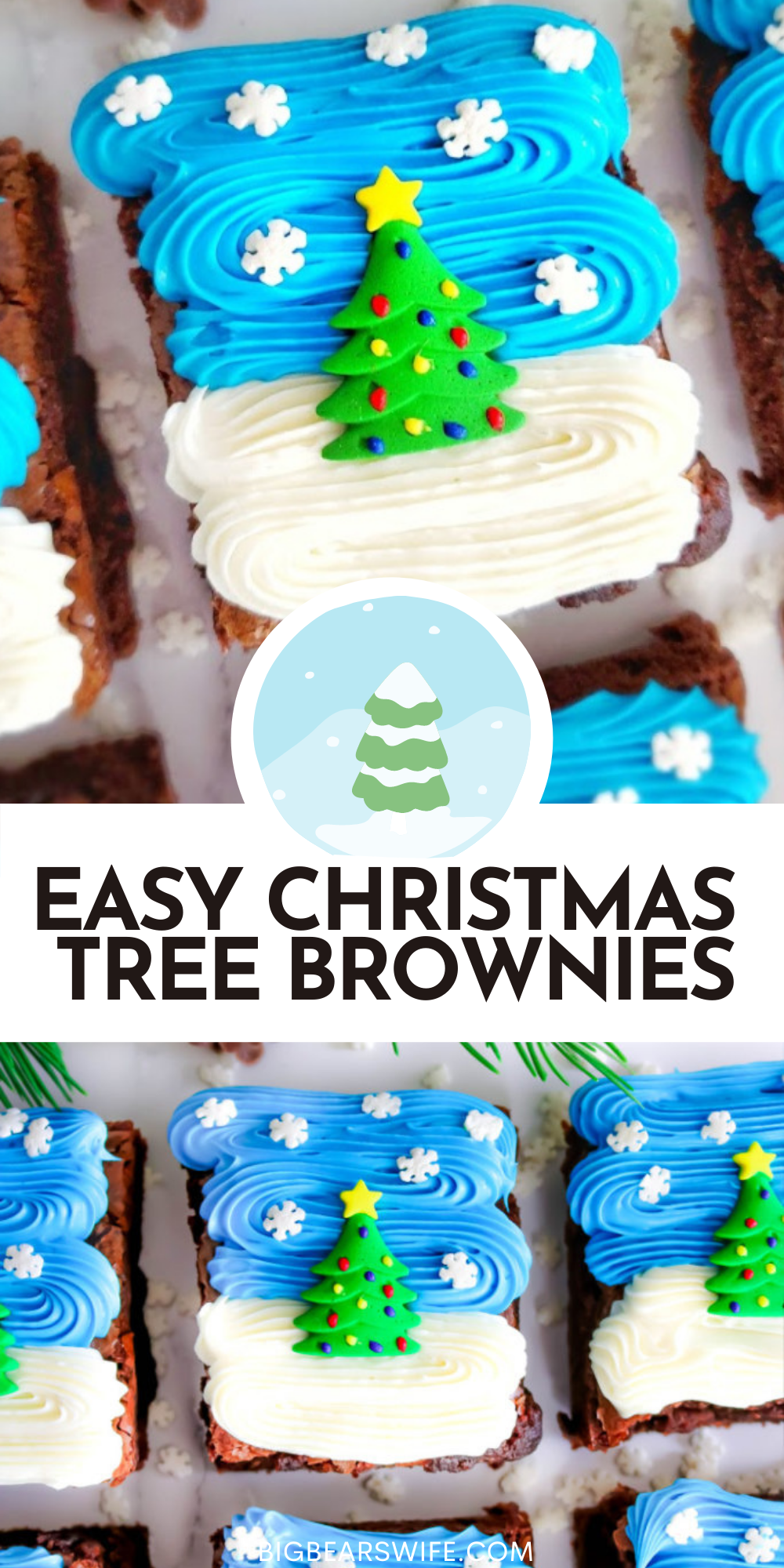 These Easy Christmas Tree Brownies are super festive and simple to make! Use your favorite brownie recipe, my recipe, a boxed mix or brownies from the bakery to create these Christmas treats! via @bigbearswife