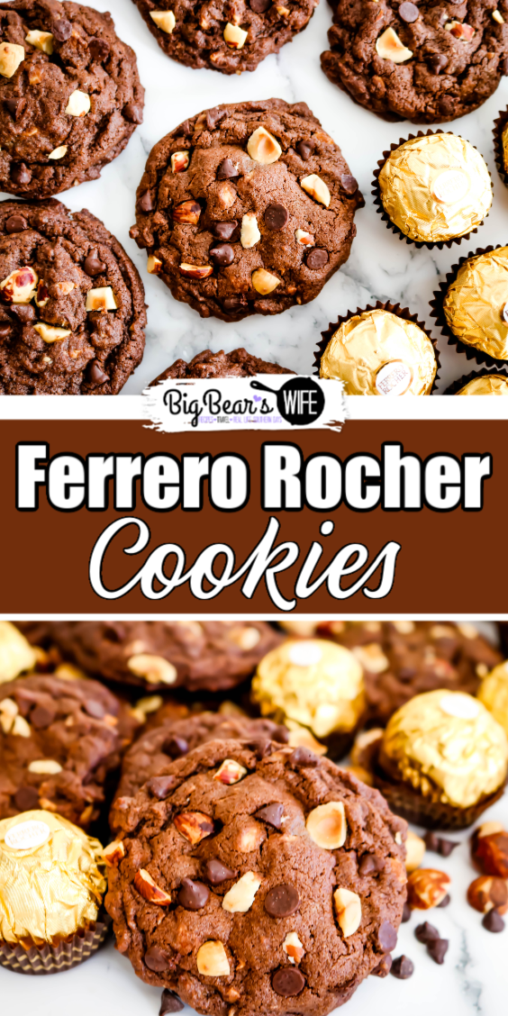 Ferrero Rocher Cookies - These delicious Ferrero Rocher Cookies take the amazing flavors of Ferrero Rocher Chocolates® and bake them into a bakery style treat. These homemade chocolate cookies are not only soft, but also packed with toasted hazelnuts and mini chocolate chips.