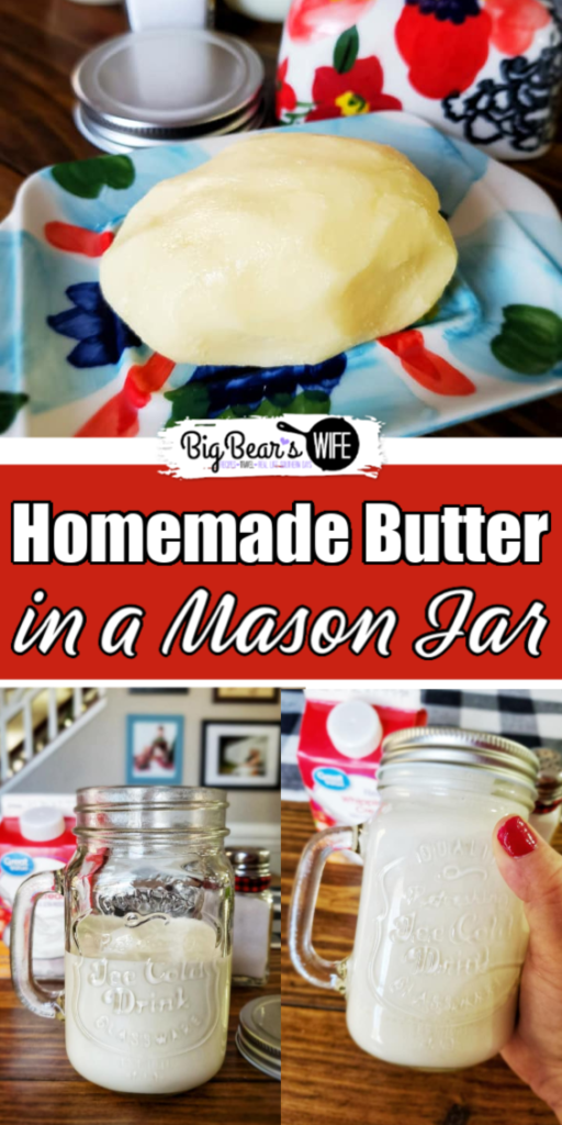 Homemade Butter in a Mason Jar - Did you know that you can make homemade butter in a mason jar mason jar? All you need is a mason jar, some heavy cream and salt to make homemade butter!