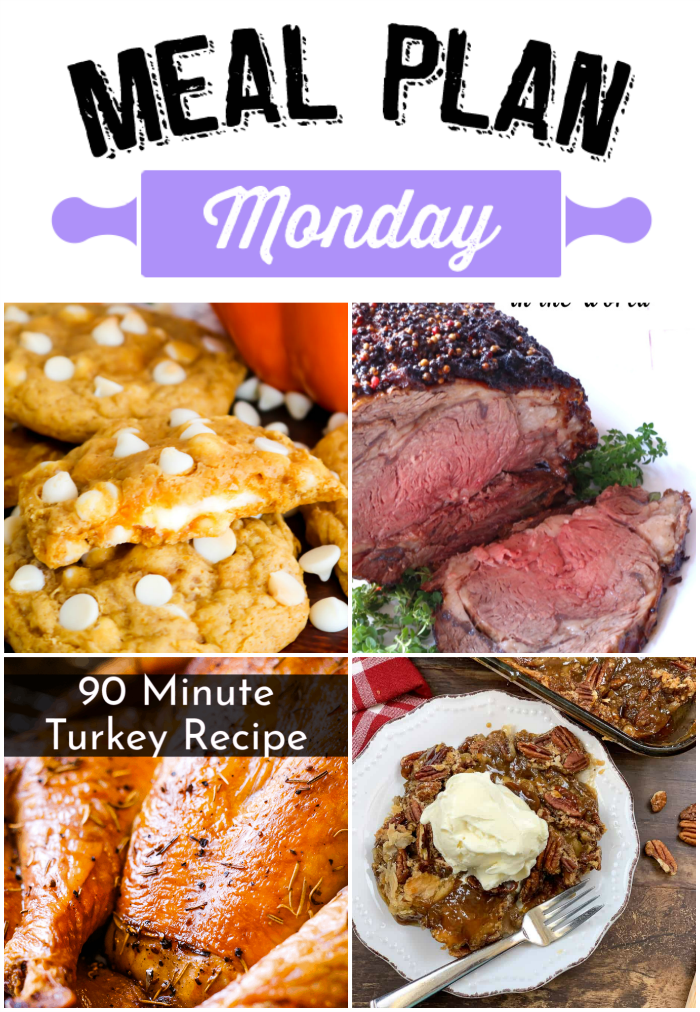Pecan Pie Cobbler, Fool-Proof Medium-Rare Prime Rib, a 90 Minute Turkey and Cheesecake Stuffed Pumpkin cookies are just a few of the amazing recipes that you're going to fall in love with on this edition of Meal Plan Monday!