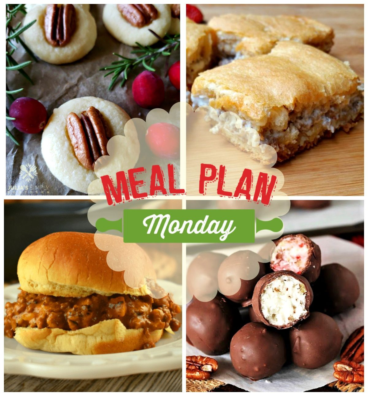 Meal Plan Monday #194! Shortbread Cookies with Pecans, Frisco Melt Sloppy Joes, Martha Washington Candy - 2 Ways and a great recipe for Sausage Bites! via @bigbearswife