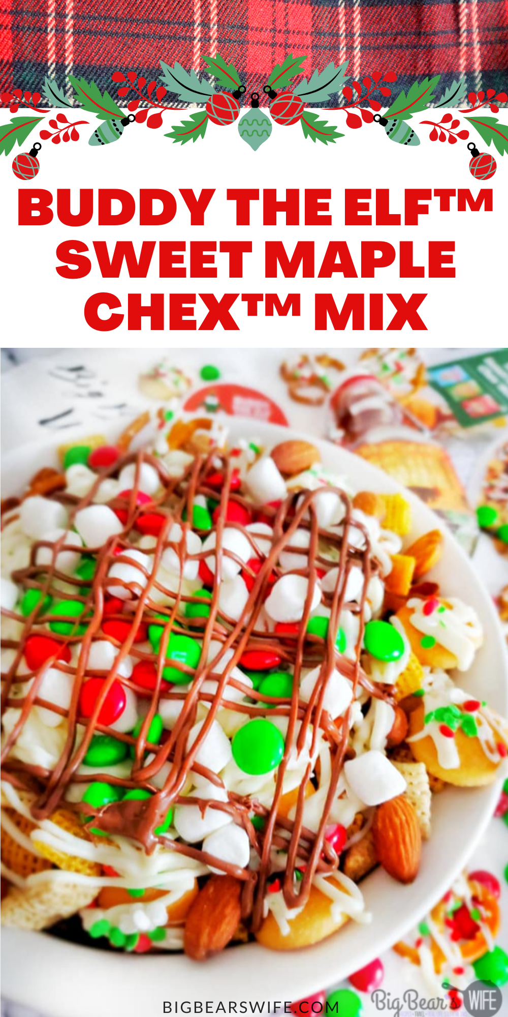 """Buddy The Elf Sweet Maple Chex Mix is a chex mix version of Buddy the Elf's Breakfast Spaghetti! Maple-sweetened Chex, Cinnamon Chex, mini cookies and pretzels get topped with white chocolate """"spaghetti, M&Ms and mini marshmallows. Don't forget the melted chocolate for the """"Chocolate Syrup"""" drizzle! via @bigbearswife"""