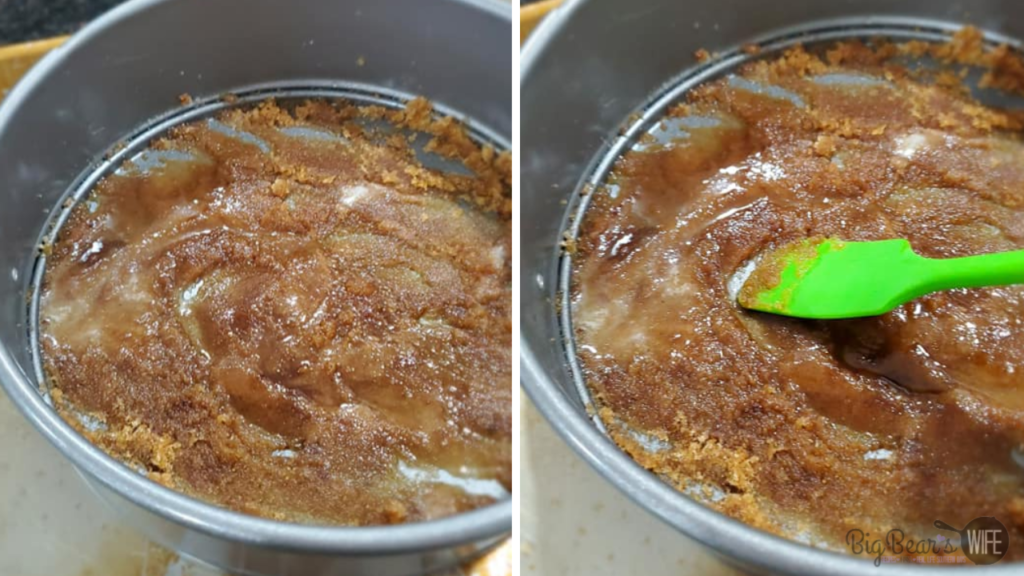 Melted brown sugar and butter in a pan