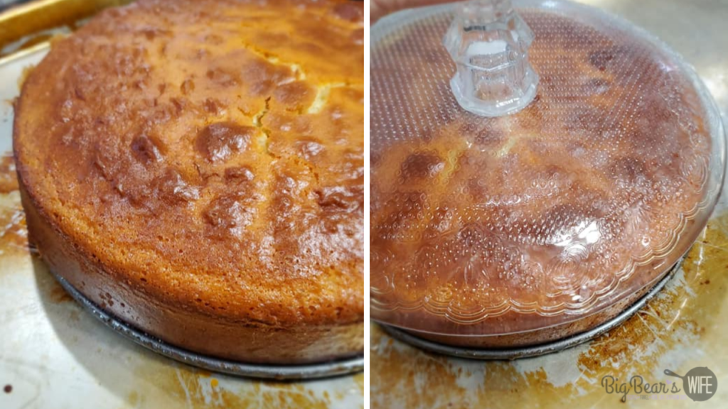 Flipping an upside down apple cake