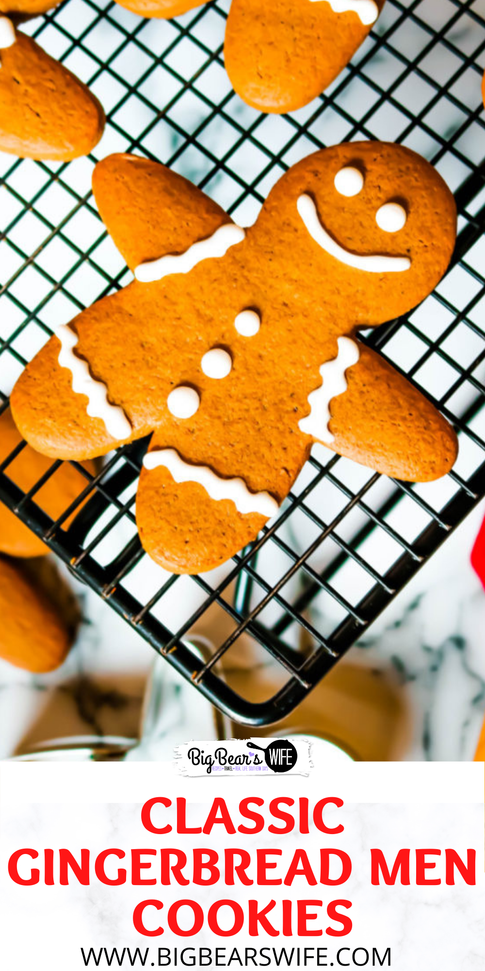 Classic Gingerbread Men Cookies are so perfect for the holidays! This gingerbread cookie dough holds up for perfectly for gingerbread cutout cookies or can be baked longer to create gingerbread men cookie ornaments for the Christmas Tree! via @bigbearswife