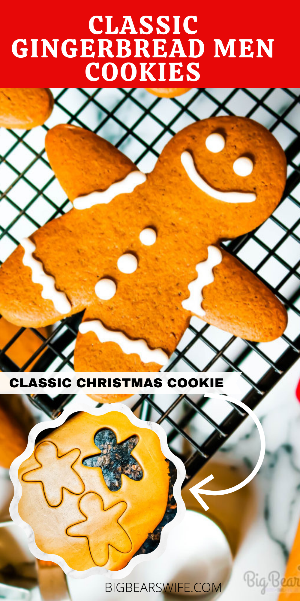 Classic Gingerbread Men Cookies are so perfect for the holidays! This gingerbread cookie dough holds up for perfectly for gingerbread cutout cookies or can be baked longer to create gingerbread men cookie ornaments for the Christmas Tree!