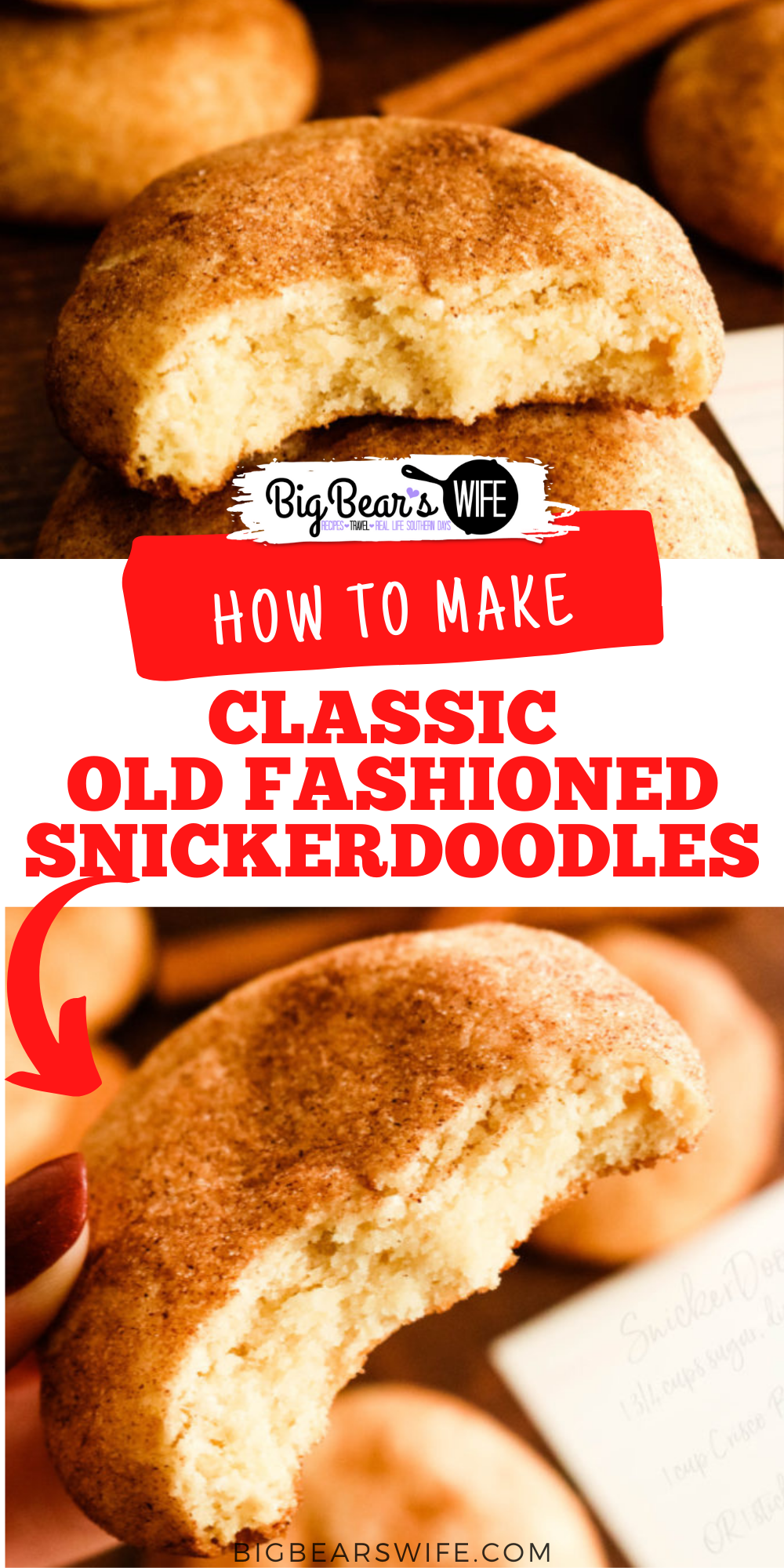Classic Old Fashioned Snickerdoodles need to be a part of everyone's recipe box! Made with shortening and rolled in cinnamon sugar for a classic sweet bite! via @bigbearswife