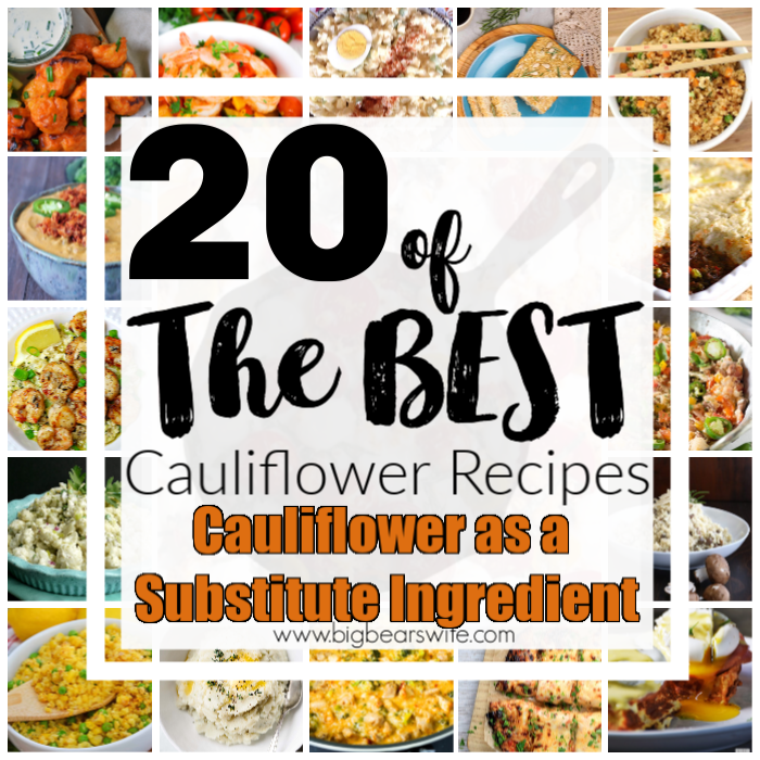 If you've looking to cut down on the amount of carbs your eating Cauliflower may be your answer! These amazing recipes use Cauliflower as a Substitute Ingredient and they're all fantastic! Here are 20 of the Best Cauliflower Recipes that use Cauliflower as a Substitute Ingredient!