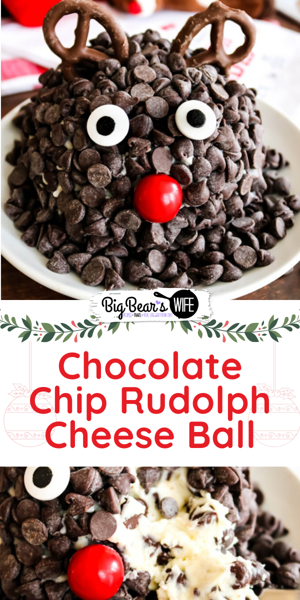 Chocolate Chip Rudolph Cheese Ball - Ready to spread some joy? Literally? This Chocolate Chip Rudolph Cheese Ball is the perfect joyful holiday dessert! A festive dessert cheeseball decorated to look like Rudolph the Red-Nosed Reindeer. via @bigbearswife