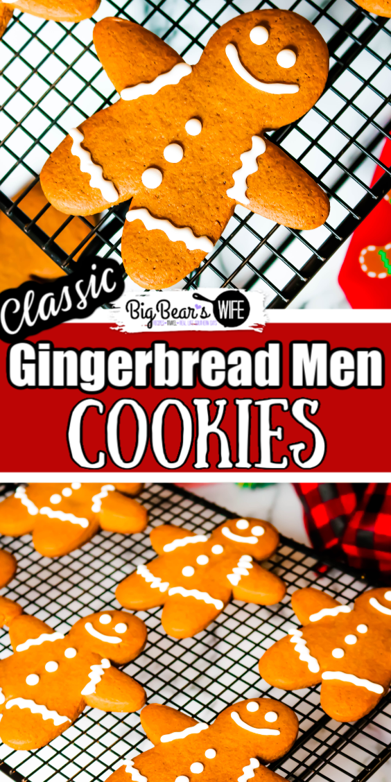 Classic Gingerbread Men Cookies - Classic Gingerbread Men Cookies are so perfect for the holidays! This gingerbread cookie dough holds up for perfectly for gingerbread cutout cookies or can be baked longer to create gingerbread men cookie ornaments for the Christmas Tree! via @bigbearswife