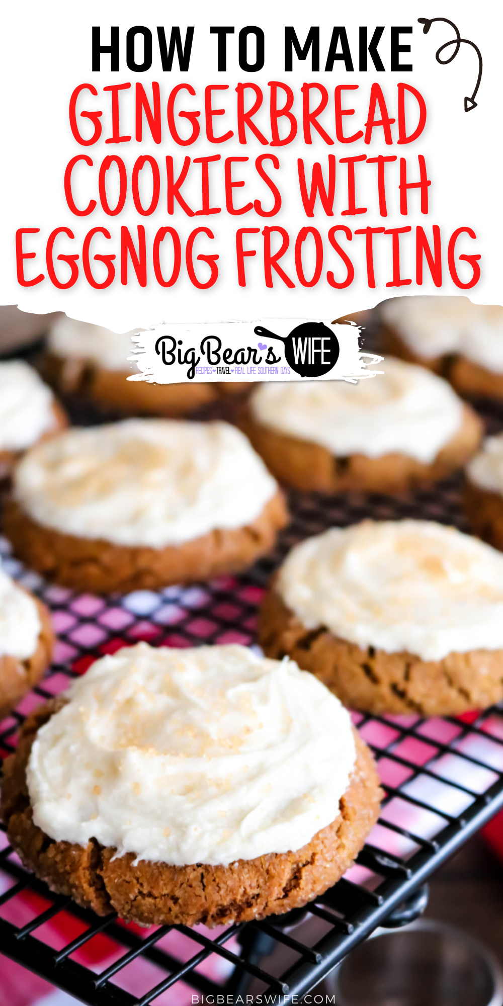 These Gingerbread Cookies are soft on the inside with a sugar coated crunch on the outside! They're packed full of warm spices and topped with a homemade eggnog frosting to create the perfect holiday cookie! via @bigbearswife