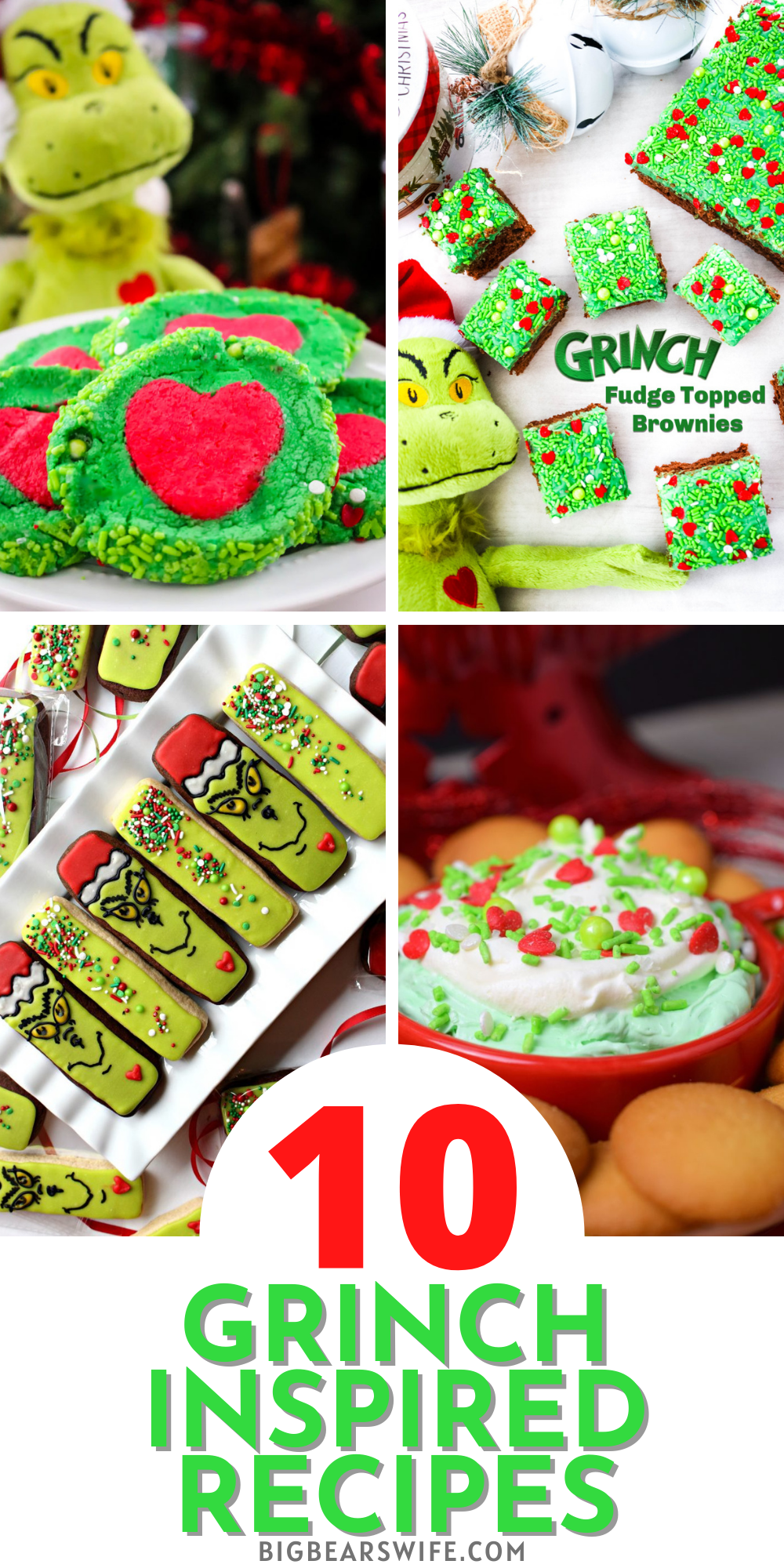 The Grinch is one of the most loved Holiday characters out there! These Grinch Inspired Recipes are proving that he's got the Christmas spirit - You'll love checking out 10 of the BEST Grinch Inspired recipes here! via @bigbearswife