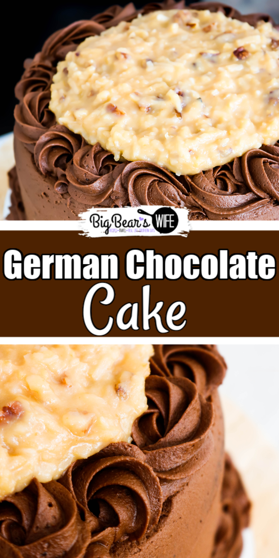 German Chocolate Cake - This German Chocolate Cake has three layers of amazing homemade chocolate cake, frosted with a homemade chocolate frosting and topped with a delicious pecan coconut filling! via @bigbearswife