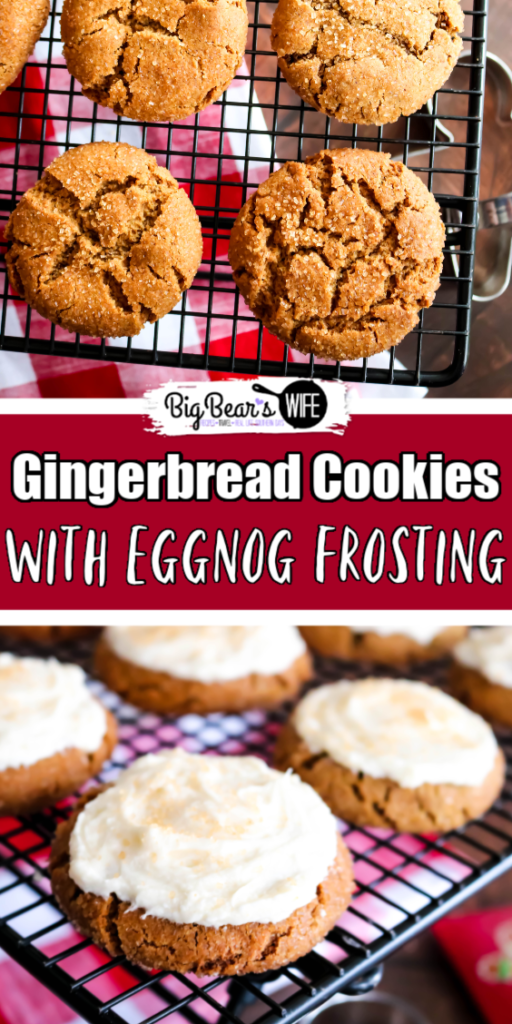 Gingerbread Cookies with Eggnog Frosting - These Gingerbread Cookies are soft on the inside with a sugar coated crunch on the outside! They're packed full of warm spices and topped with a homemade eggnog frosting to create the perfect holiday cookie!