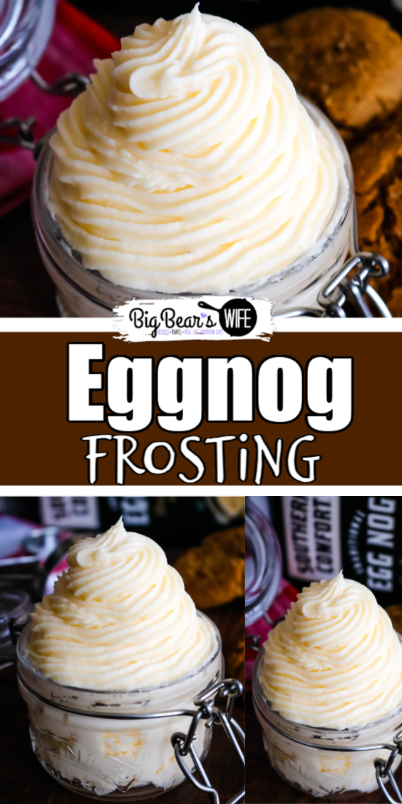 If you love Eggnog then you're going to fall head over heels in love with this Homemade Eggnog Frosting! It's got the perfect amount of eggnog flavor and it's great for frosting cupcakes, brownies and cookies! via @bigbearswife