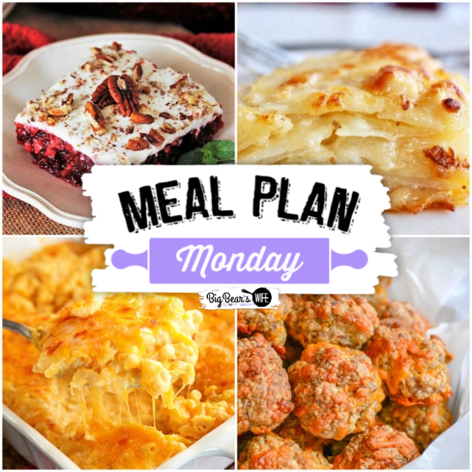 Hey y'all!!  Welcome to another delicious edition of Meal Plan Monday!  Free Recipes - Cheesiest Mac and Cheese for a Crowd & 7-UP Cranberry Jello Salad