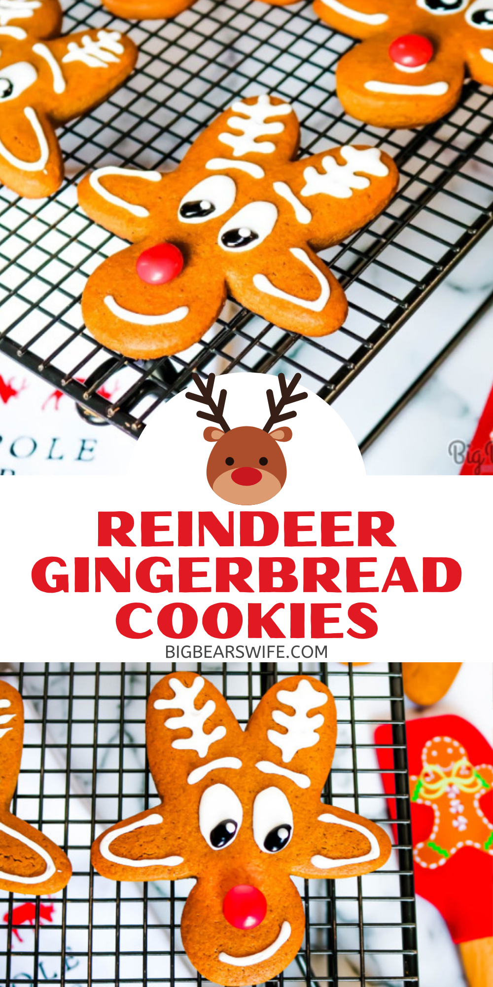 These adorable Reindeer Gingerbread Cookies are made using an upside down gingerbread man cookie cutter, royal icing and a red chocolate candy for the nose!