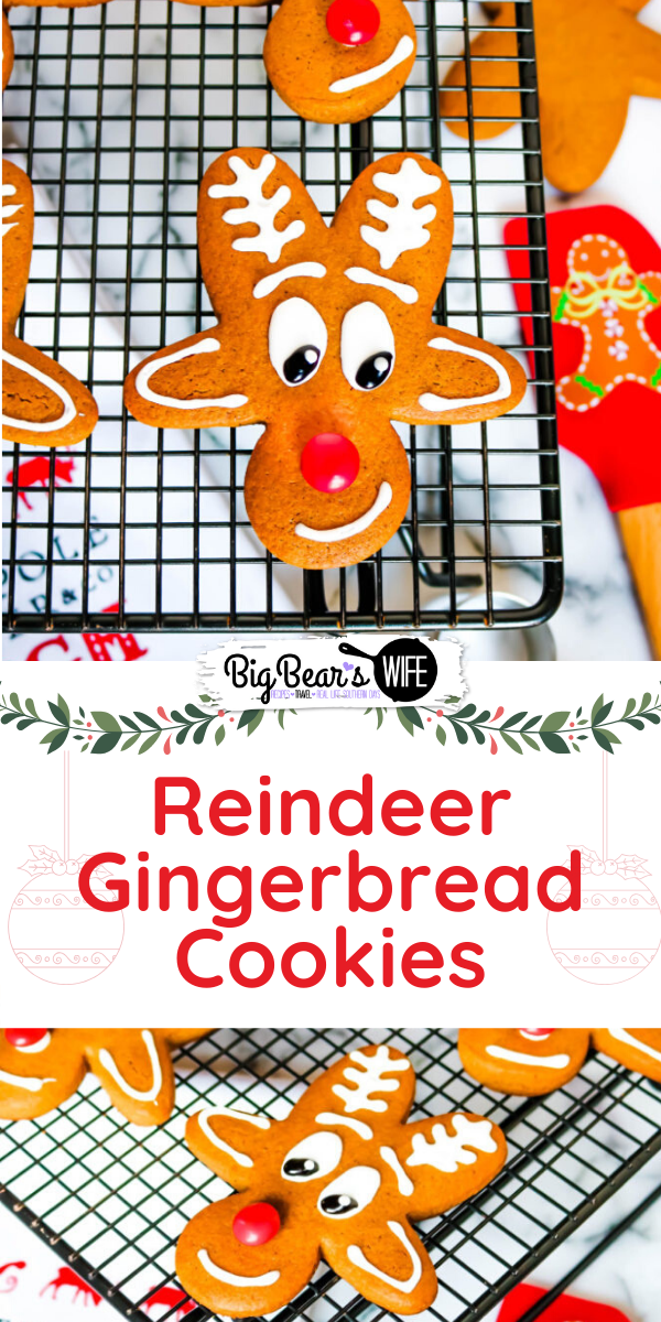Reindeer Gingerbread Men Cookies - Upside Down Gingerbread Man Reindeer Cookies - These adorable Reindeer Gingerbread Cookies are made using an Upside Down Gingerbread Man cookie cutter, royal icing and a red chocolate candy for the nose!