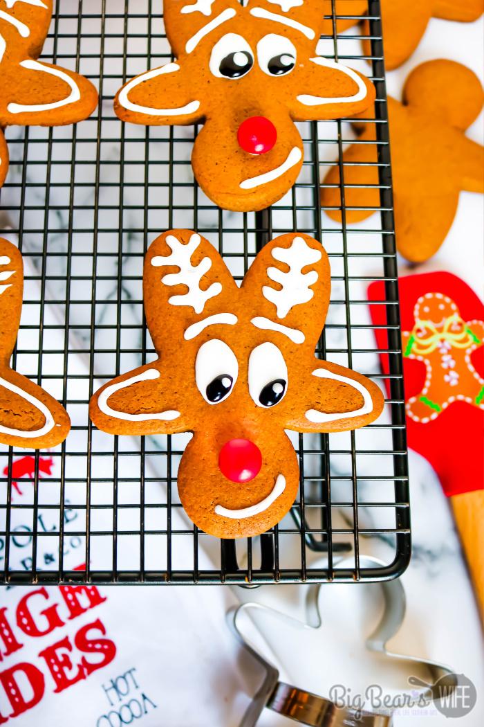 Reindeer Gingerbread Men Cookies - Upside Down Gingerbread Man Reindeer Cookies