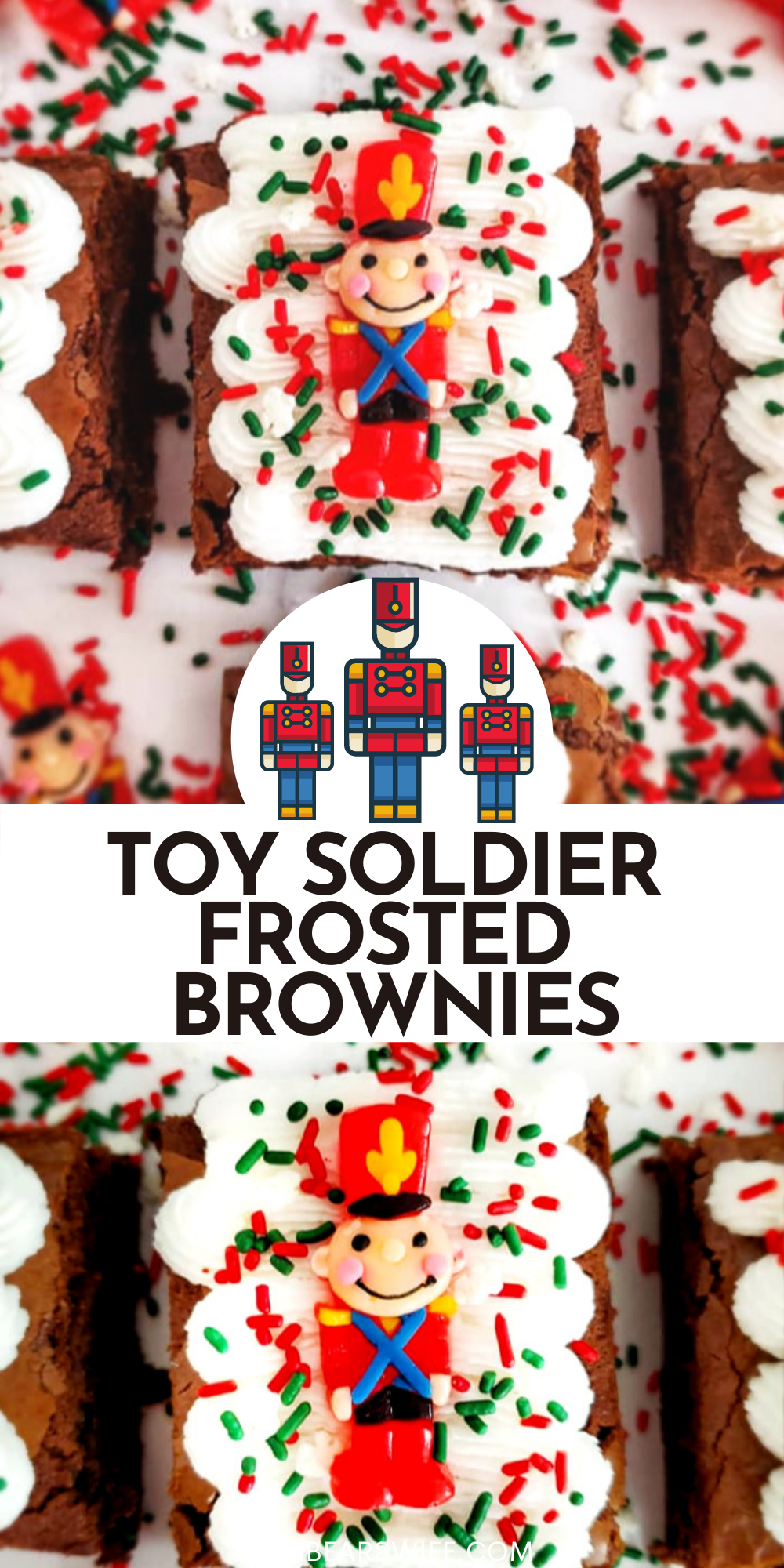 Whip up a festive batch of Holiday brownies with this recipe for Easy Toy Soldier Frosted Brownies! Kids and Adults will both have fun decorating these simple treats! So cute but so quick to toss together!  via @bigbearswife