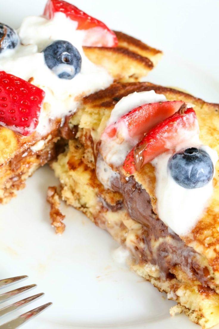 Chocolate & Hazelnut Stuffed Pancakes