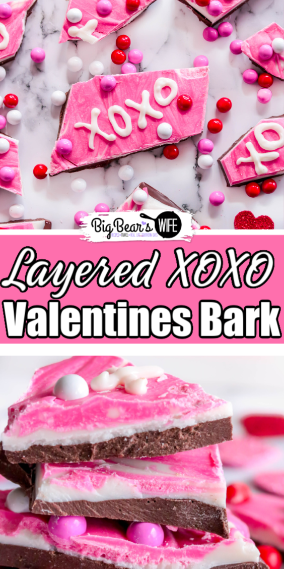 Make your sweetheart a special treat this valentines day with this easy, homemade, chocolate 3 Layered XOXO Valentines Bark recipe! via @bigbearswife