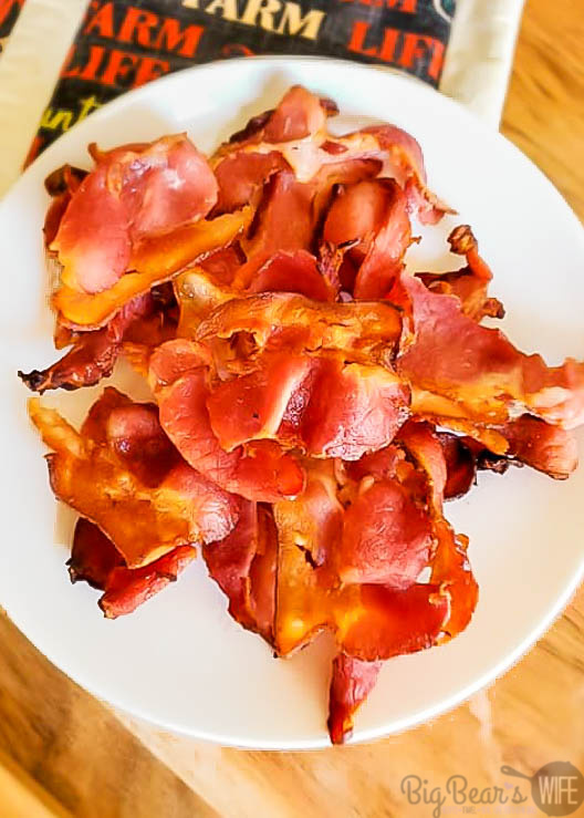 Bacon on white plate
