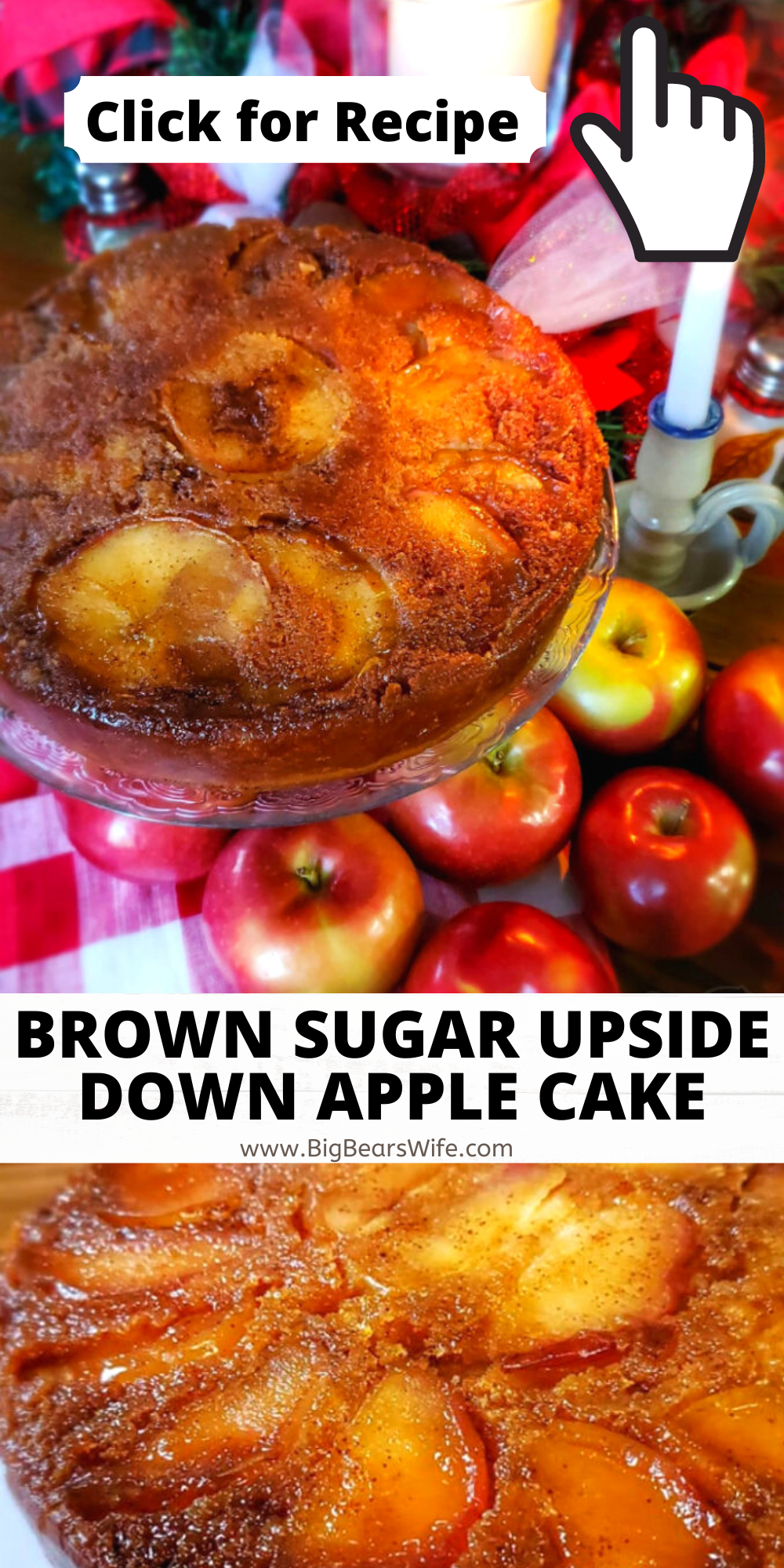 This Brown Sugar Upside Down Apple Cake is a old fashioned apple cake with a modern shortcut in the ingredients list! It's beautiful, delicious and super easy to make! via @bigbearswife