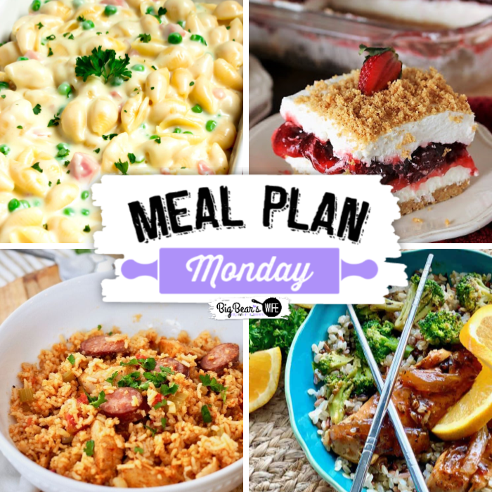 Meal Plan Monday is celebrating it's 200th edition today and we're so excited to celebrate with you and some outstanding recipes! In this edition of Meal Plan Monday #200, you'll find Easy Chicken & Sausage Jambalaya, Jerk Chicken Rice Bowls, No-Bake Strawberry Yum Yum, White Cheddar Mac and Cheese with ham and peas PLUS some surprise celebration desserts from MPM hosts!