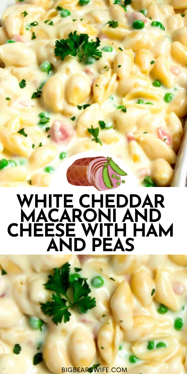 Once you've tasted this homemade version of mac and cheese you'll wonder why you've waited so long to make macaroni and cheese from scratch. This White Cheddar Macaroni and Cheese with Ham and Peas is great all year but it's perfect during the holidays for using up leftover holiday ham! via @bigbearswife