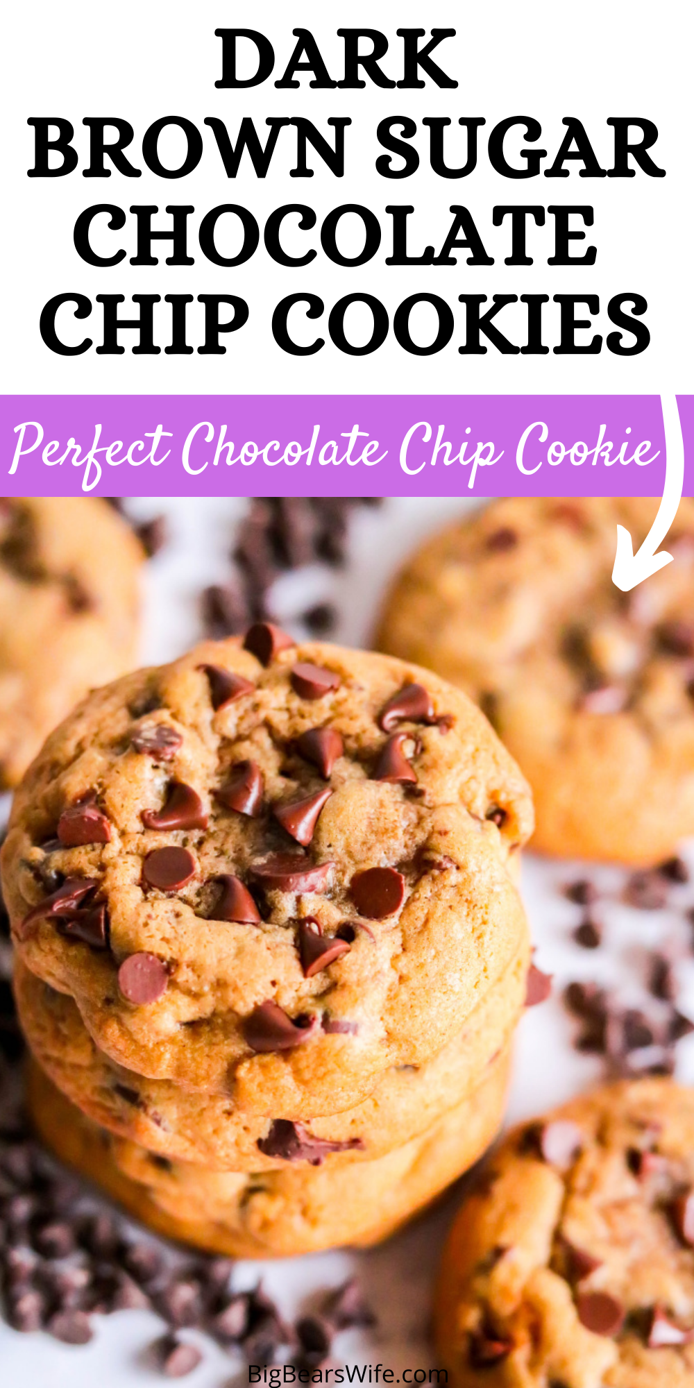 These Dark Brown Sugar Chocolate Chip Cookies might be the best chocolate chip cookie ever. Chilling the dough gives the cookie a soft and chewy texture and they're packed tons of chocolate chips!  via @bigbearswife