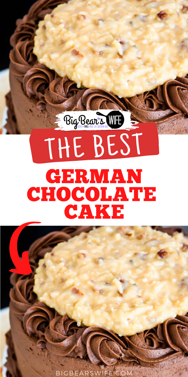 This German Chocolate Cake has three layers of amazing homemade chocolate cake, frosted with a homemade chocolate frosting and topped with a delicious pecan coconut filling!   via @bigbearswife