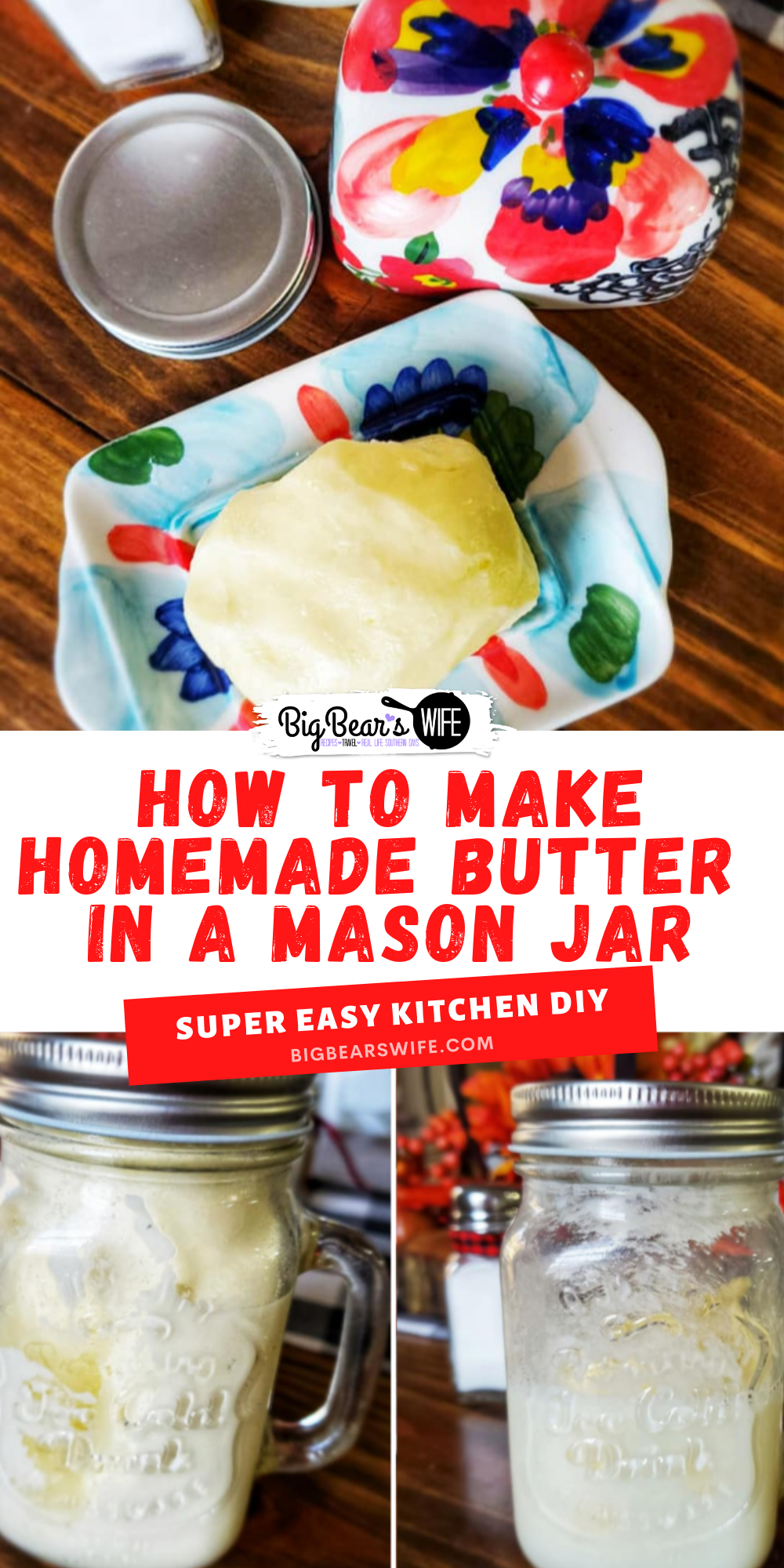 Did you know that you can make homemade butter in a mason jar mason jar? All you need is a mason jar, some heavy cream and salt to make homemade butter!   via @bigbearswife