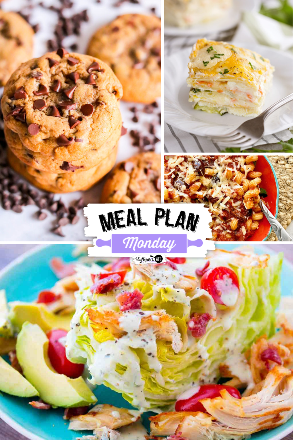 Meal Plan Monday Edition 205 is ready to go with loaded of recipes to help out with your weekly Meal Planning! We're featuring Easy Vegetable Lasagna with Alfredo Sauce,Sun Dried Tomato Pasta,Avocado Bacon Chicken Iceberg Lettuce Wedge Salad,Dark Brown Sugar Chocolate Chip Cookies and so much more!! via @bigbearswife