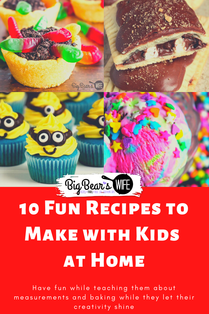 10 Fun Recipes to Make with Kids at Home - If you are looking for something fun to keep your kids entertained, get them into the kitchen! Have fun while teaching them about measurements and baking while they let their creativity shine with these 10 Fun Recipes to Make with Kids at Home!