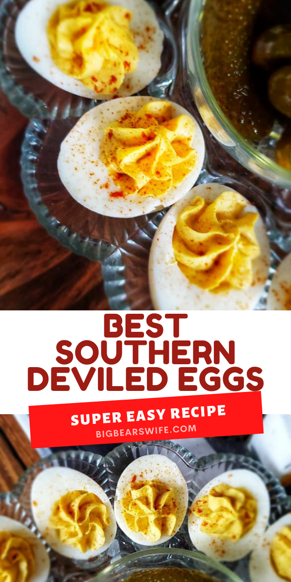 This recipe right here is for the Best Southern Deviled Eggs that I make for holidays! They're perfectly creamy and taste just like the Deviled Eggs grandma us to make.