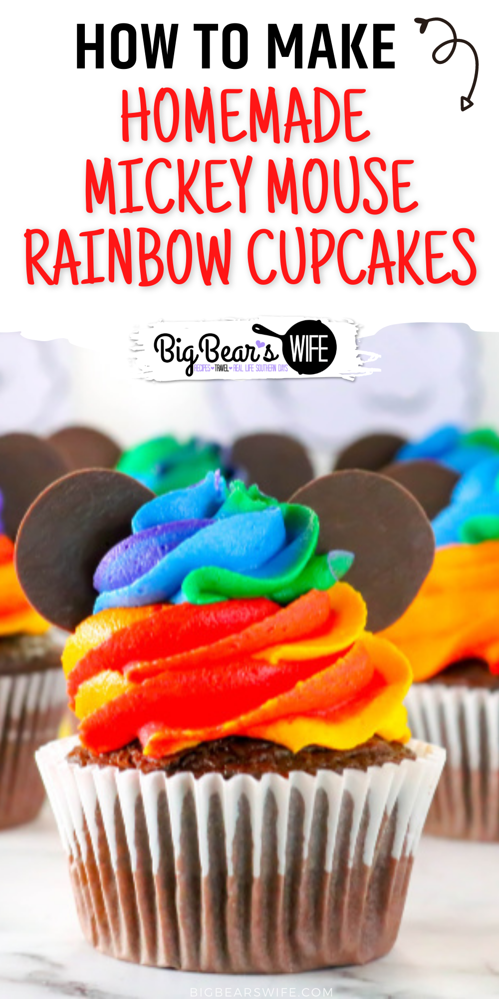 Combine the magic of Disney with the beauty of a rainbow with these adorable Homemade Mickey Mouse Rainbow Cupcakes! Inspired by the Mickey rainbow cupcakes sold at Walt Disney World, I'll show you how to make them at home! via @bigbearswife