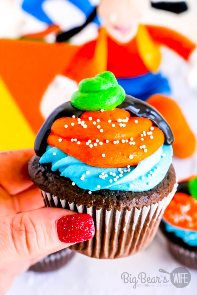 Holding a Homemade Goofy Cupcakes