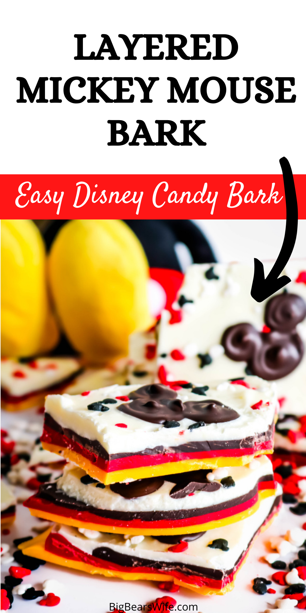 This Layered Mickey Mouse Bark is a fun Mickey Mouse inspired treat that shows off all of Mickey's signature colors! This Mickey bark is super easy to make and would be a perfect dessert or party favor for any Disney fan! via @bigbearswife